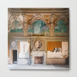 Stunning Abandoned Villa with Fireplace Metal Print