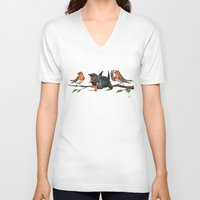 cock V-neck T-shirts featuring Cock Robin by rob art | illustration
