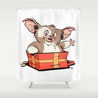 gizmo Shower Curtains featuring Gizmo Gift by The Drawbridge