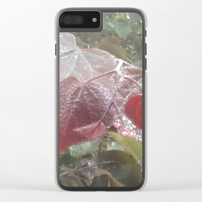 garden in the rain Clear iPhone Case