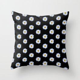Daisy Delight (Black) Throw Pillow