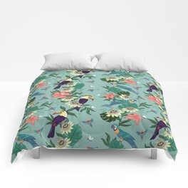 Toucans and Parrots in the Passion Flowers Comforters