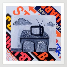 retro TV & Bowl Art Print