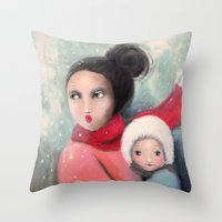 mom Throw Pillows featuring Mom by By Malino
