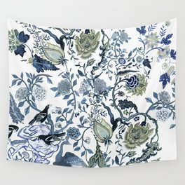Blue vintage chinoiserie flora Wall Tapestry
