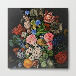 Parrot Tulips, Roses, Dahlias, Zinnia & Fig Bouquet  (Flowers of the Imagination) by Rachel Ruysch Metal Print