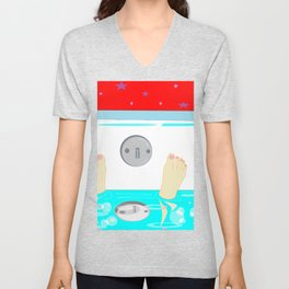 Soaking in the Tub with Red Wallpaper Unisex V-Neck