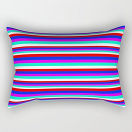 Colored Stripes - Fire Red Royal Blue Pink Mint White Rectangular Pillow