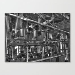 Steam valves in black and white Canvas Print