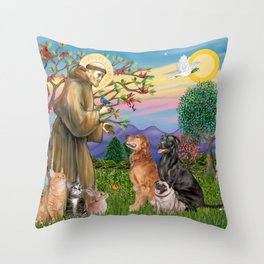 Saint Francis Blesses Dogs & Cats Throw Pillow
