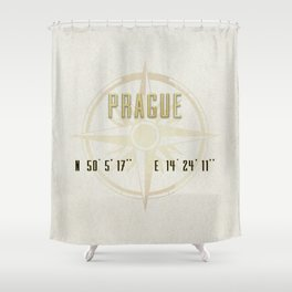 Prague - Vintage Map and Location Shower Curtain