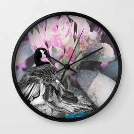 Goose flower collage Wall Clock