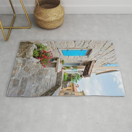 Town of Hum old cobbled street view Rug