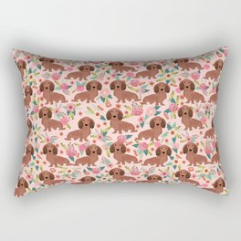 Long Haired Dachshund red coat pet friendly must have gifts for home dog lover Rectangular Pillow
