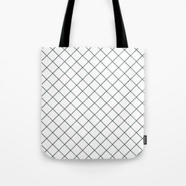 PPG Night Watch Pewter Green Thin Line Stripe Grid (Pinstripe Pattern) on White Tote Bag