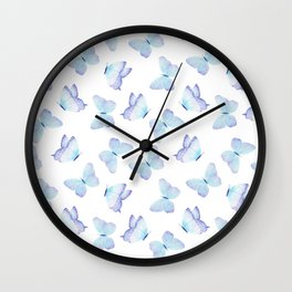 Lilac aqua blue watercolor hand painted butterfly Wall Clock