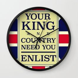 Your King and country need you Enlist. Wall Clock