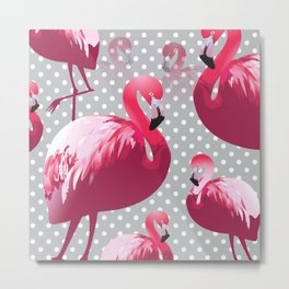 Watercolor Flamingo Pattern 6 Metal Print