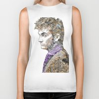 david tennant Biker Tanks featuring David Tennant Dr. Who Text portrait by Mike Clements