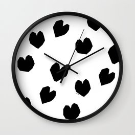 Love Yourself no.2 - black heart pattern love minimal black and white illustration Wall Clock