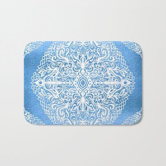 White Gouache Doodle on Pearly Blue Paint Bath Mat