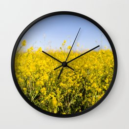 Bright yellow spring flowers pattern blue sky photography Wall Clock