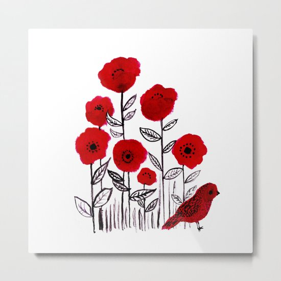 Tall poppies and red bird Metal Print