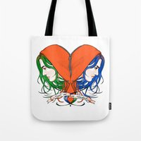 nietzsche Tote Bags featuring Clementine's Heart by castlepöp