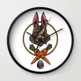 Easter Bunny Pirate | Happy Easter Colored Eggs Wall Clock
