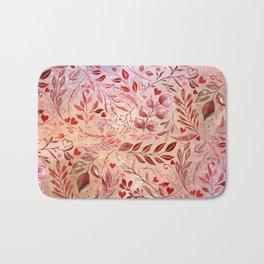 Elegant Poppy Red Flourish in Sunset Orange Bath Mat