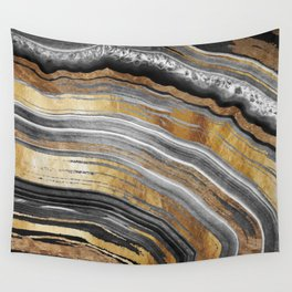 Black and Gold Geode rock Wall Tapestry