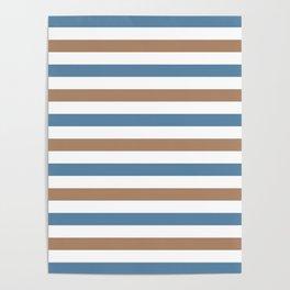 Grayish blue, beige and white horizontal stripes Poster