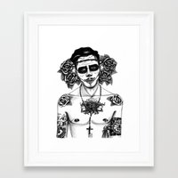 calavera Framed Art Prints featuring CALAVERA by Maria A.