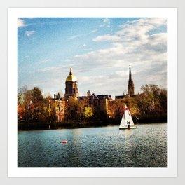 Sailing at Notre Dame Art Print