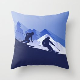 Skiing Winter Sport on Demand Sale Design 2 Throw Pillow