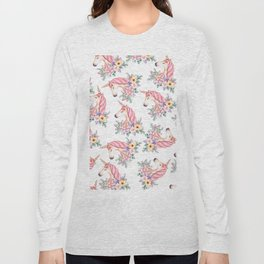 Pink lilac yellow green watercolor magical unicorn floral Long Sleeve T-shirt