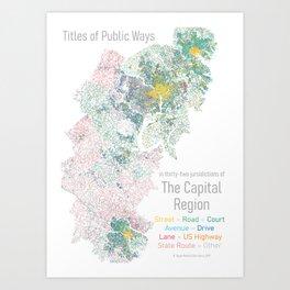 Titles of Public Ways in 32 jurisdictions of the Capital Region Art Print