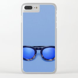 Blue Lens Sunglasses on a Blue background Clear iPhone Case