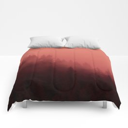 0366 Chocolate Forest with Living_Coral Fog, AK Comforters