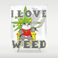 cannabis Shower Curtains featuring Timothy The Cannabis Bear  by Timmy Ghee CBP/BMC Images  copy written