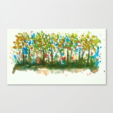 Silent Woods, Abstract Watercolors Landscape Art Canvas Print