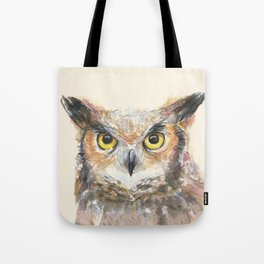 Owl Watercolor Great Horned Owl Painting Tote Bag
