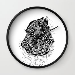 Hong Kong Dim Sum Wonton Doodle in BW Wall Clock