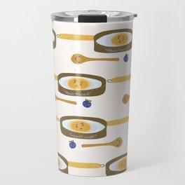 Cute vector pancake day breakfast illustration. Seamless repeating pattern. Travel Mug