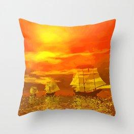 Segelschiffe im Sonnenschein Throw Pillow