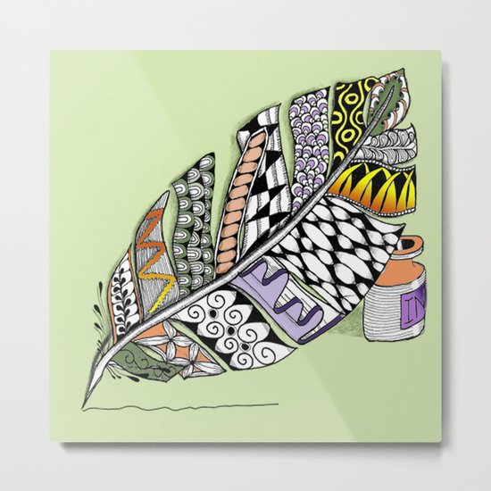 Zentangle Pen and Ink Illustration Metal Print