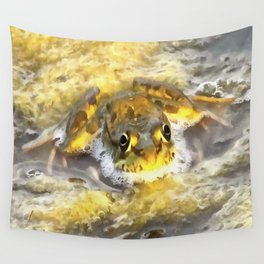 Frog In Deep Water Wall Tapestry