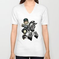 roller derby V-neck T-shirts featuring Roller Derby Referee Zebra by RonkyTonk
