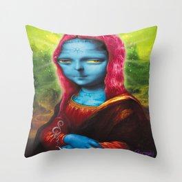 Blue Mona Throw Pillow