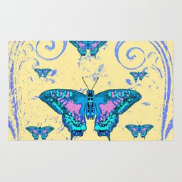 ORNATE BLUE BUTTERFLIES SCROLL DESIGNS  ART Rug